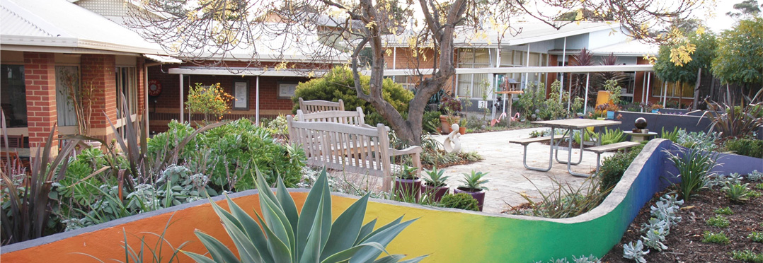 View of the Brain Disorders Unit through the sensory garden