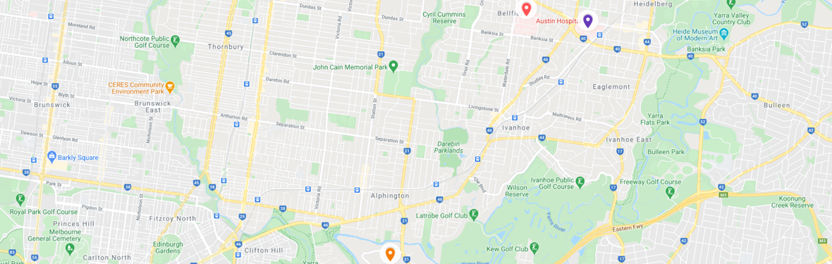 Hospital locations pinned on Google map