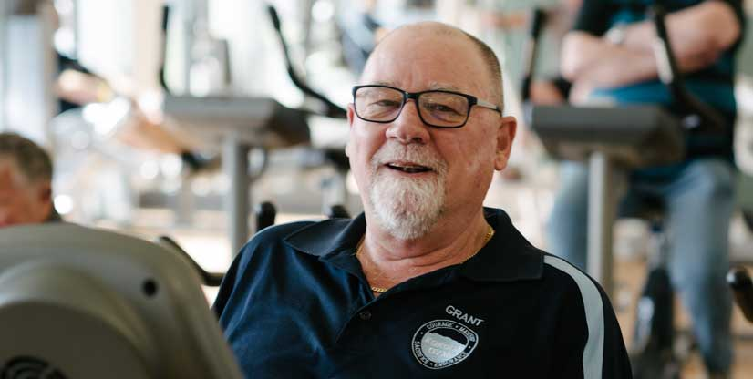 Veteran Grant works out in the Kokoda Gym