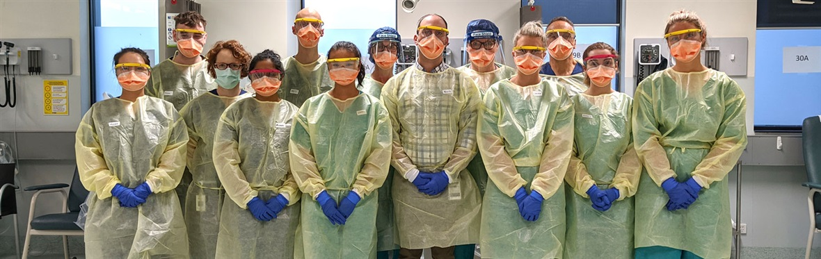 Staff from our COVID-19 screening clinic, dressed in protective equipment